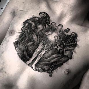Tattoo by Leny Tusfey #LenyTusfey #torsotattoos #torso #darkart #blackwork #illustrative #engraving #esoteric #skeleton #skull #reaper #death #hourglass #satan #devil #human #man #light