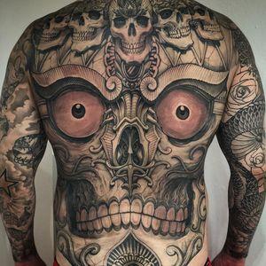 Tattoo by Hernan Chang #HernanChang #torsotattoos #torso #illustrative #blackandgrey #Tibetan #tibetanskull #death #ornamental