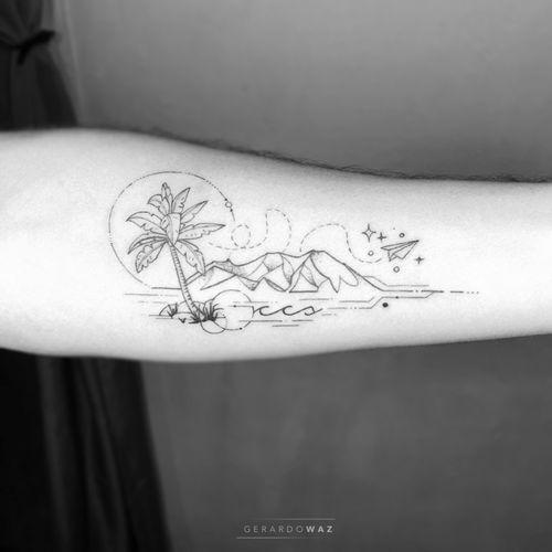 """""""De Caracas para el mundo"""" . Salir de tu confort, dejar todo atrás, separarte de la gente que consideras familia para buscar un mejor porvenir, es de valientes. Mi respeto a todos los emigrantes y fuerza a todos los que se quedan. . Gracias @victormoma . ΔPPOINTMENTS / CITΔS: info@Equilattera.com . www.EQUILΔTTERΔ.com . #Equilattera ___ #️⃣#tattoo #tattoos #tatuaje #miamitattoos #art #miamitattoo #miamitattooartist #miami #mia #miamibeach #wynwood #miamiart #miamiartist #artist #tropical #btattooing #inkstagram #beach #smalltattoo #venezolanosenusa #finelinetattoo #fineline #venezolanosenelexterior #venezolanosenmiami #venezuela #ccs #caracas #avila #elavila"""