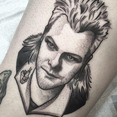 Tattoo by Shawn Triple 6 #ShawnTriple6 #movietattoos #movie #filmtattoo #film #blackwork #dotwork #illustrative #portrait #TheLostBoys #vampire #KieferSutherland