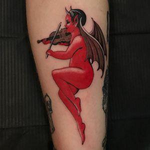 Tattoo by JS Klegka #JSKlegka #besttattoos #best #color #Illustrative #devil #demon #wings #violin #vintage