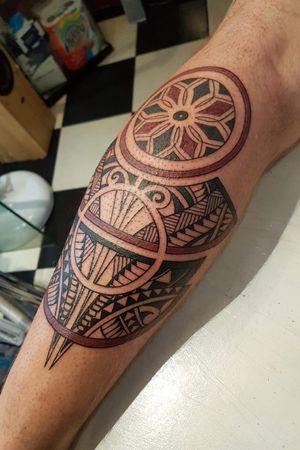 Custom calf designed and tattooed by myself