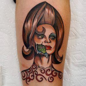 Tattoo by Andrew Mongenas #AndrewMongenas #movietattoos #movie #filmtattoo #film #color #traditional #MarsAttacks #alien #portrait