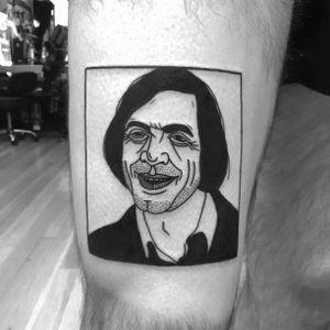 Tattoo by Noil Culture #NoilCulture #movietattoos #movie #filmtattoo #film #blackwork #illustrative #nocountryforoldmen #portrait #JavierBardem