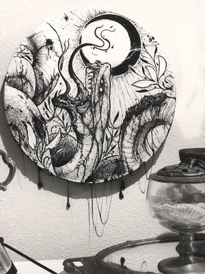 This piece will be for sale on November 3. It's weird but I've never sold one of my original pieces besides tattoos. The thought of one of my actual drawings or paintings in someone else's hands seems so strange to me. Is that weird? Idk what it is. #snake #penandink #tattooartist #drawing #canvas #moon #nature #darkart#blackwork #artnouveau #neotraditional #original #forsale #snaketattoo #atx #austin #dallas #houston #texas #artgallery