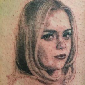 Tattoo by Shannon E Perry #ShannonPerry #movietattoos #movie #filmtattoo #film #blackandgrey #portrait #illustrative #ChristinaRicci #Buffalo66