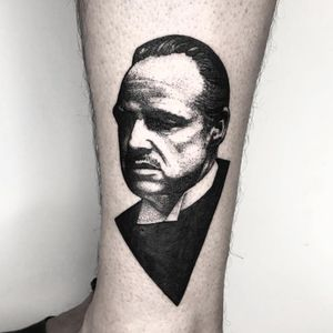 Tattoo by Koldo Novella #KoldoNovella #movietattoos #movie #filmtattoo #film #blackwork #illustrative #dotwork #thegodfather #MarlonBrando
