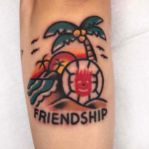Tattoo by Needles Tattooing #NeedlesTattooing #movietattoos #movie #filmtattoo #film #color #traditional #castaway #wilson #volleyball #island #palmtrees #beach #ocean #friendship