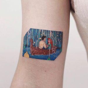 Tattoo by Saegeem #Saegeem #movietattoos #movie #filmtattoo #film #cartoon #watercolor #color #illustrative #Disney #TheLittleMermaid #mermaid #filmstill