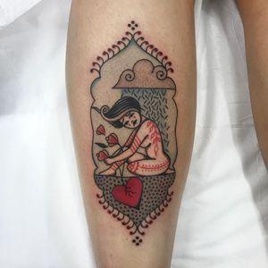 Tattoo by Cloditta #cloditta #colortattoos #color #lady #folkart #illustrative #flowers #heart #heartbreak #cloud #rain #nature
