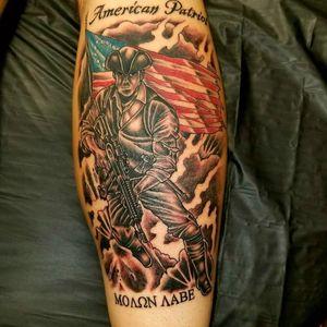 American Patriot with molon labe on bottom