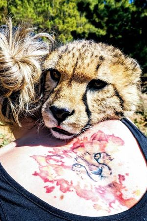 Solo the Cheetah checking out my work (his portrait).