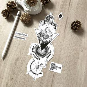 Dotwork/blackwork tattoo design with mountain, galaxy, compass and geometric patterns. Downloads, tattoo commissions: www.rawaf.shop/tattoo #dotwork #blackwork #compass #nature #mountain #mandala #geometric
