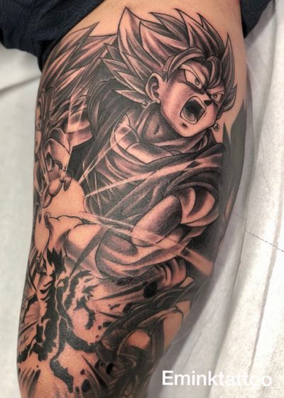 ⏩ 🐉 Dragonball history Leg Sleeve Goku and vegeta fusion ! Tattoo by @emink_tattoo don at @eminktattoostudio Work in progress 🚧⚠️ #emink #eminktattoo #eminktattoostudio #dragonball #dragonballtattoo #tattoo #cartoon #anime #animetattoo #goku #gokutattoo #blackandgray #blackandgreytattoo #dragonballsuper #blackandwhite #blackandgrey #blackandgray