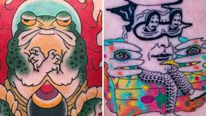 Tattoo on the left by Junior and tattoo on the right by Julian Llouve #Junior #JulianLlouve #colortattoos #color