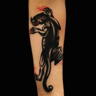 Tattoo by Chingyfringe #Chingyfringe #blackpanthertattoos #blackpanther #junglecat #cat #blood #catscratch #color #traditional