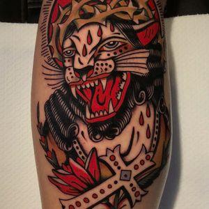 Tattoo by Bob Geerts #BobGeerts #blackpanthertattoos #blackpanther #junglecat #cat #Jesus #portrait #cross #crownofthorns #rose #flower #blood #Christian #religious #surreal #strange