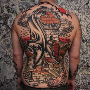 Tattoo by Joel Soos #JoelSoos #blackpanthertattoos #blackpanther #junglecat #cat #backpiece #tower #castle #clouds #birds #nature #water #lake #backtattoo