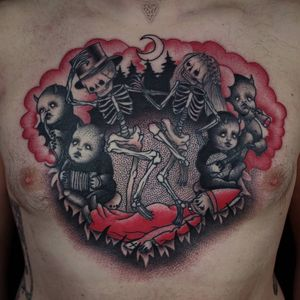 Tattoo by Łukasz Sokołowski #LukaszSokolowski #HalloweenTattoos #Halloween #Samhain #spooky #trickortreat #skeletons #demons #devils #moon #dance #music #death #redink
