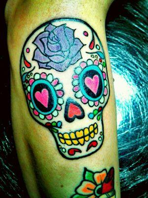 #mexicanskull #sugarskulltattoo #colorart #myjob #tattooart