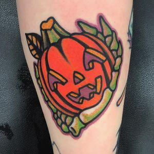 Tattoo by Jon Larson #JonLarson #HalloweenTattoos #Halloween #Samhain #spooky #trickortreat #pumpkin #skeletonhand #skeleton