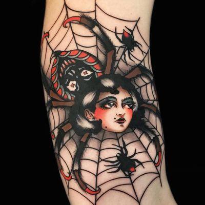 Tattoo by Chingy Fringe #ChingyFringe #HalloweenTattoos #Halloween #Samhain #spooky #trickortreat #traditional #illustrative #vintage #ladyhead #spider #spiderweb #skull