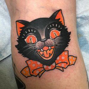 Tattoo by Christina Hock #ChristinaHock #HalloweenTattoos #Halloween #Samhain #spooky #trickortreat #cat #bowtie #color #traditional
