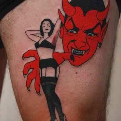 Tattoo by Cris Cleen #CrisCleen #HalloweenTattoos #Halloween #Samhain #spooky #trickortreat #satan #devil #pinup #lady #redink #vintage #portrait