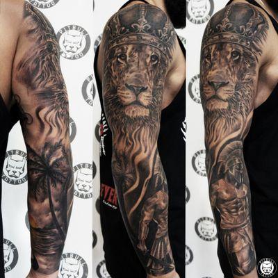 Realistic arm sleeve tattoo. Black & Grey Style. #realistic #realism #blackandgrey #blackandwhite #armsleeve #sleeve #fullsleeve #lion #patong #phuket #thailand