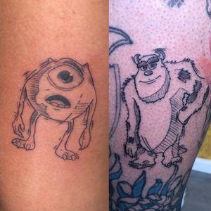 My couple tattoo! #monstersinc #coupletattoo #monstrossa #tatuagemdecasal #mikewazowski #jamespsullyvan
