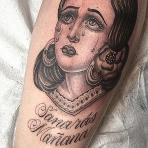 Tattoo by Tamara Santibanez #TamaraSantibanez #Chicanotattoos #Chicano #Chicanostyle #Chicanx #script #teas #sadgirl #portrait #lady #ladyhead