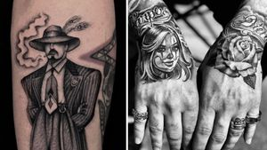 Tattoo on the left by Illegal Tattoos and tattoo on the right by Mister Cartoon #IllegalTattoos #JuanDiego #MisterCartoon #Chicanotattoos #Chicano #Chicanostyle #Chicanx