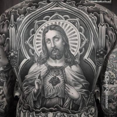 Tattoo by Chuey Quintanar #ChueyQuintanar #Chicanotattoos #Chicano #Chicanostyle #Chicanx #Jesus #JesusChrist #sacredheart
