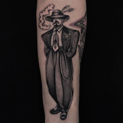 Tattoo by Illegal Tattoos #IllegalTattoos #JuanDiego #Chicanotattoos #Chicano #Chicanostyle #Chicanx #zootsuit #1940s #portrait #blackandgrey