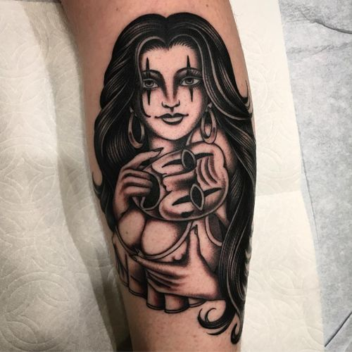 Tattoo by Paul Dobleman #PaulDobleman #Chicanotattoos #Chicano #Chicanostyle #Chicanx #mask #payasa #ladyhead #lady