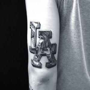 Tattoo by Jose Araujo Martinez #JoseAraujoMartinez #Chicanotattoos #Chicano #Chicanostyle #Chicanx #losangeles #lady #ladyheads #skull #text #font