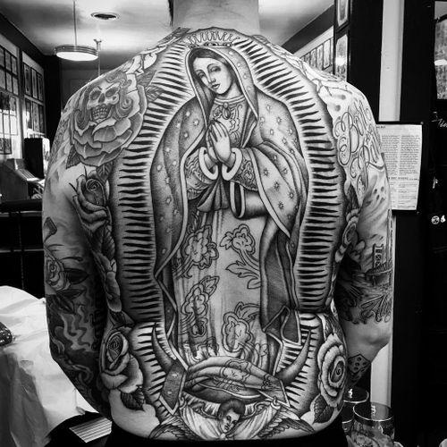 Tattoo by Chuco Moreno #ChucoMoreno #Chicanotattoos #Chicano #Chicanostyle #Chicanx #VirginMary #ladyofsorrows #rose #skull #sugarskull