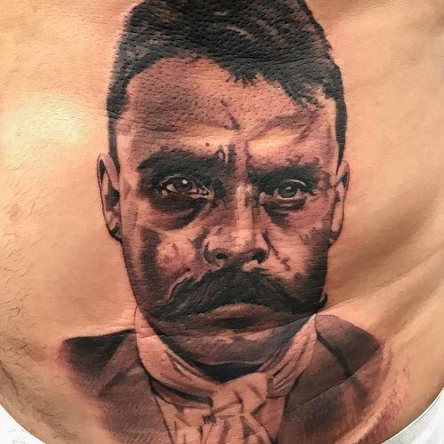 Tattoo by El Whyner #ElWhyner #Whyner #Chicanotattoos #Chicano #Chicanostyle #Chicanx #Zapata #Zapatista #portrait #blackandgrey