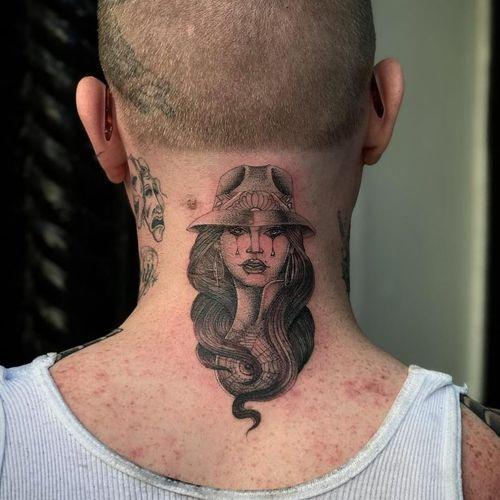 Tattoo by Big Steve #BigSteve #Chicanotattoos #Chicano #Chicanostyle #Chicanx #payasa #sadgirl #spiderweb #blackandgrey