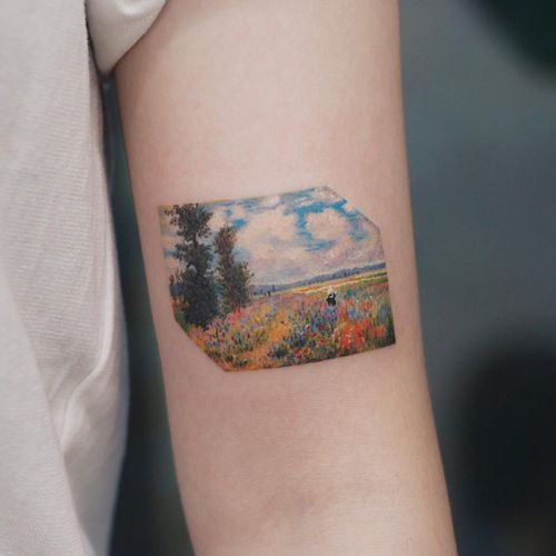 Tattoo by Saegeem #Saegeem #watercolortattoo #watercolor #painterly #fineart #painting #color #Monet #flowers #floral #leaves #nature #sky #trees #landscape