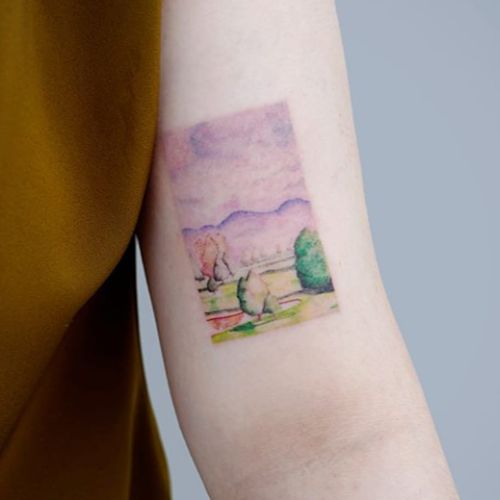 Tattoo by Tattoo a piece #Tattooapiece #watercolortattoo #watercolor #painterly #fineart #painting #color #landscape #trees #mountains #sky #nature