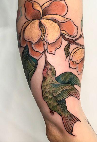 #nyc #colortattoo #linework #magnolia #hummingbird #bird #womenwithtattoos #folk #floral #flower #botanical