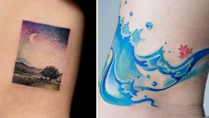 Tattoo on the left by Haeny and tattoo on the right by Zihee #Haeny #Zihee #watercolortattoo #watercolor #painterly #fineart #painting #color