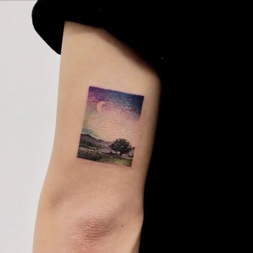 Tattoo by Haeny #Haeny #watercolortattoo #watercolor #painterly #fineart #painting #color #painting #landscape #sky #sunset #moon #tree #nature
