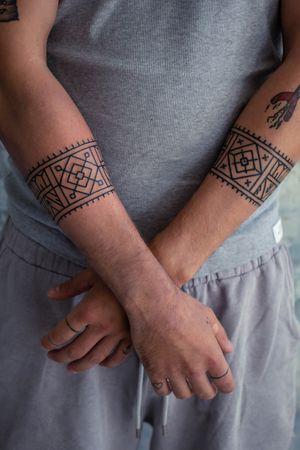 Armbands by MikeHo #tattoo #tribaltattoo #sacredgeometry #copenhagen #København #BlackworkTattoos