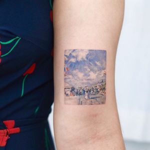 Tattoo by Nemo #Nemo #watercolortattoo #watercolor #painterly #fineart #painting #color #Monet #France #sky #beach #landscape