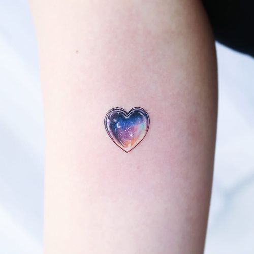 Tattoo by Heemee #Heemee #watercolortattoo #watercolor #painterly #fineart #painting #color #galaxy #star #heart #gem #jewel #moon