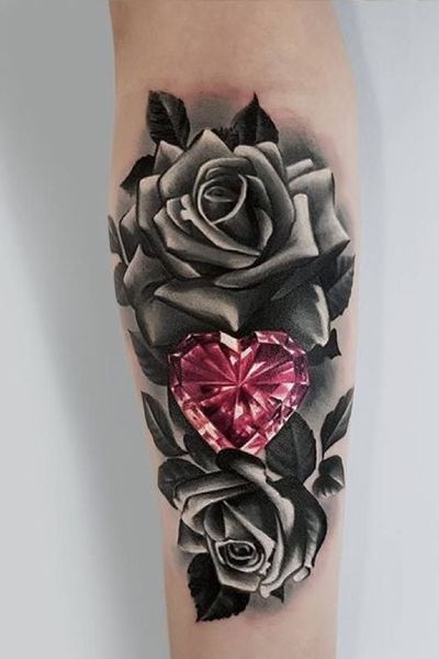 Going to be tying in my diamond and roses similar to this! #flower #rose #blackandgrey #diamond #color #arm #girlswithtattoos