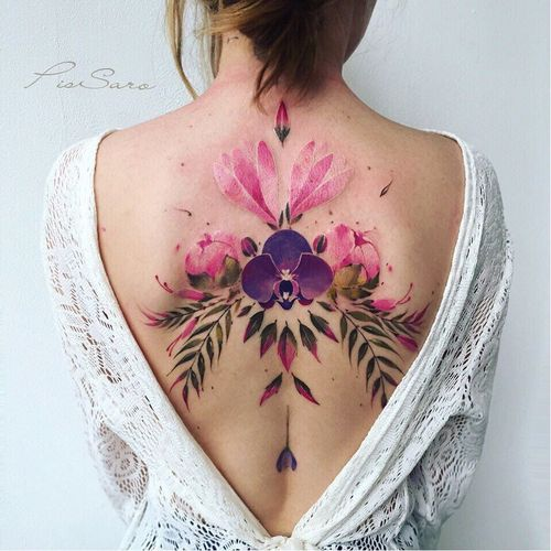 Tattoo by Pis Saro #PIsSaro #watercolortattoo #watercolor #painterly #fineart #painting #color #flowers #floral #leaves #nature