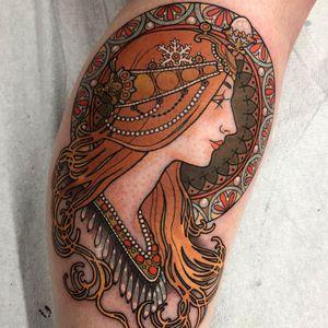 Tattoo by Arielle Gagnon #ArielleGagnon #NeoTraditionalTattoo #neotraditional #neotrad #artnouveau #artdeco